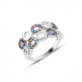 Сребърен пръстен с многоцветни камъни