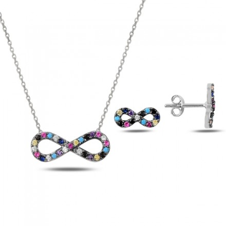 Сребърен комплект с цветни камъни