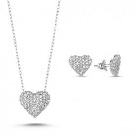 Сребърен комплект Сърца