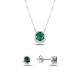 Сребърен комплект със зелен Цирконий