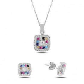 Сребърен комплект с цветни Цирконий